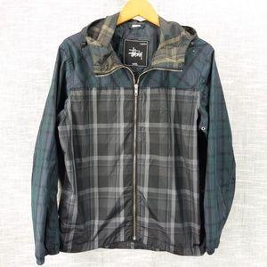 Mens Stussy Multi Plaid Windbreaker Jacket Small